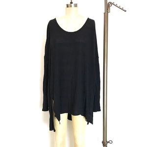 Free People Beach Black Long Sleeve Tunic coverup